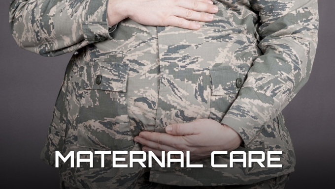 Maternal Care Banner. A picture of a pregnant airmen in uniform holding her belly.