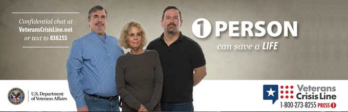 3 people standing together for a Veterans Crisis Line ad.