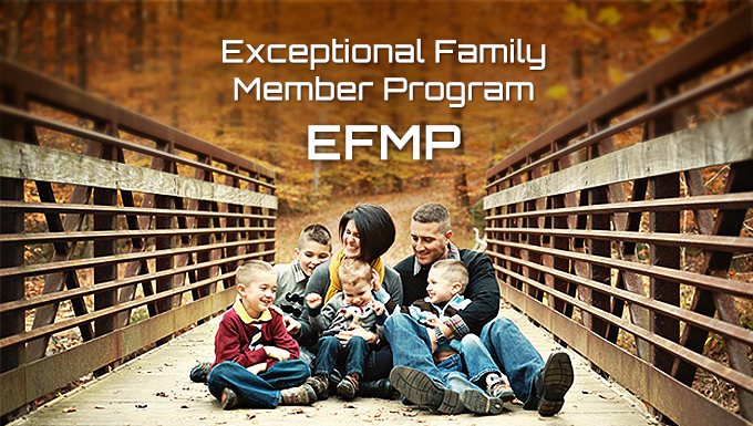 Exceptional Family Member Program Banner. A family sitting on a bridge.