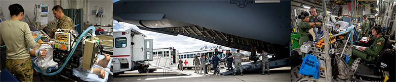 Three images focusing on AFMS Capability: Critical Care Air Transport Team Patient Journey