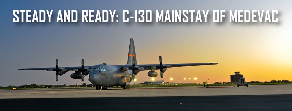 Graphic of a plane for Steady and ready: C-130 mainstay of medevac
